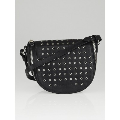 Burberry Black Leather Eyelet Small Clifton Crossbody Bag