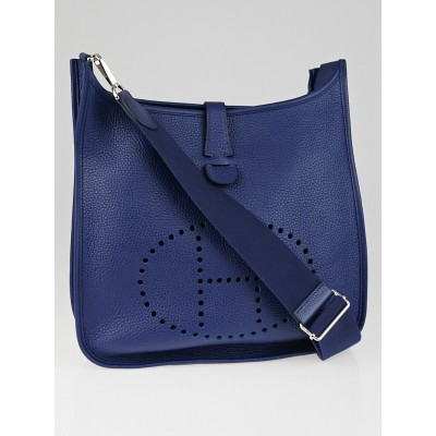 Hermes Bleu Saphir Clemence Leather Evelyne III GM Bag