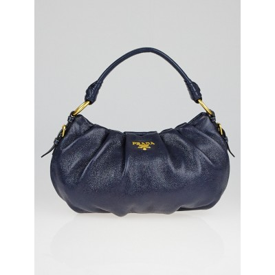 Prada Navy Blue Metallic Leather Hobo Bag