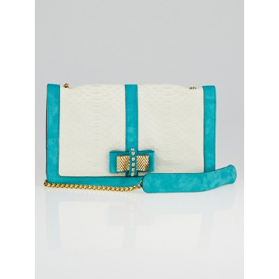 Christian Louboutin White Python and Turquoise Suede Sweet Charity Clutch Bag