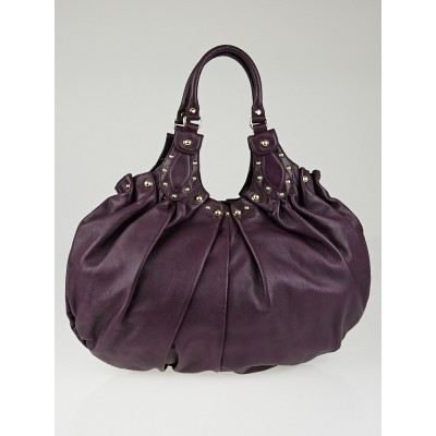 Gucci Purple leather Studded Pelham Large Shoulder Bag