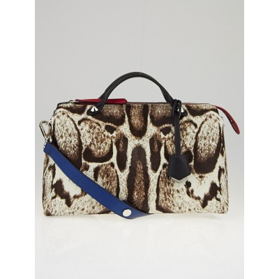 Fendi Leopard Print Calf Hair and Leather Medium By the Way Bag