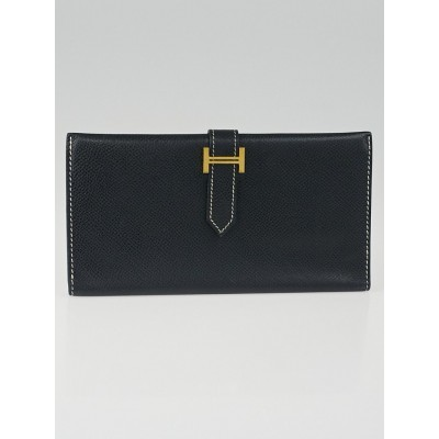 Hermes Black Veau Grain Lisse Leather Bearn Gusset Wallet