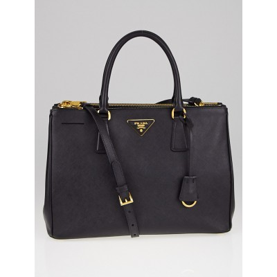 Prada Black Saffiano Lux Leather Double Zip Medium Tote Bag BN2274