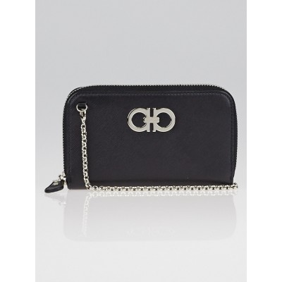 Salvatore Ferragamo Black Embossed Calfskin Leather Mini Gancini Wallet on a Chain