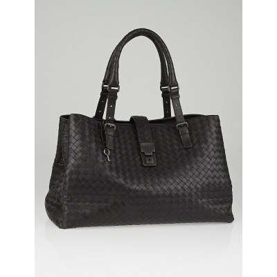 Bottega Veneta Moro Intrecciato Light Calf Leather Roma Bag