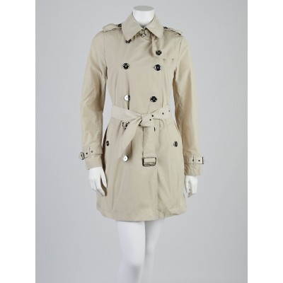 Burberry Brit Beige Polyester Buckingham Packable Trench Coat Size 4