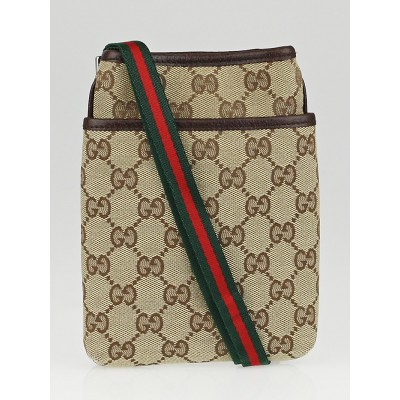 Gucci Beige/Ebony GG Canvas Mini Travel Messenger Bag
