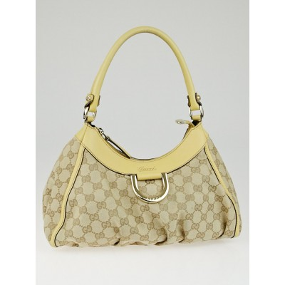 Gucci Beige/Yellow GG Canvas Small D-Ring Hobo Bag