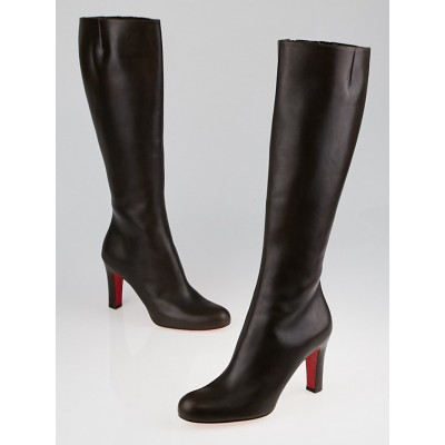 Christian Louboutin Brown Leather Miss Tack Alta Tall Boots Size 8/38.5