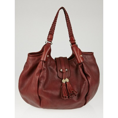 Gucci Dark Red Pebbled Leather Marrakech Large Hobo Bag