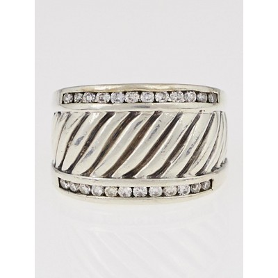 David Yurman Sterling Silver and Diamond Ice Cigar Ring Size 6.5