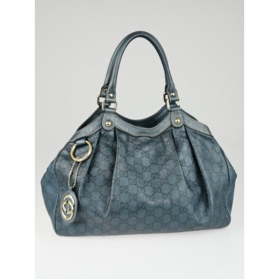 Gucci Blue Metallic Guccissima Leather Medium Sukey Tote Bag