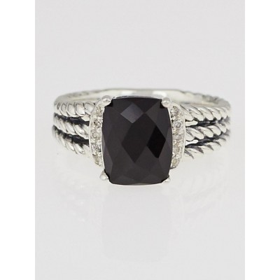 David Yurman Black Onyx and Diamonds Petite Wheaton Ring Size 7