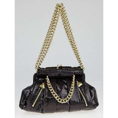 Christian Louboutin Black Python Kiss-Lock Frame Shoulder Bag