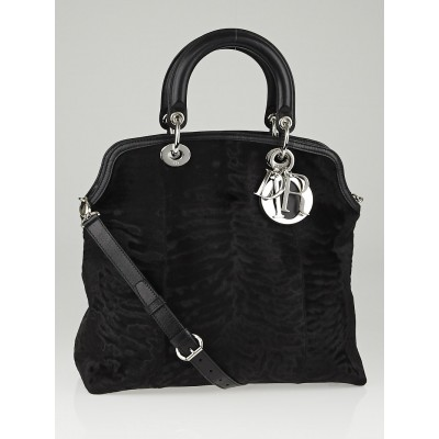 Christian Dior Black Textured Mink Fur and Pony Hair Granville Tote Bag