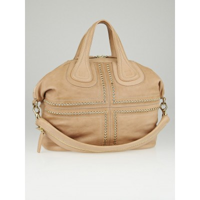 Givenchy Beige Lambskin Leather Studded Medium Nightingale Bag