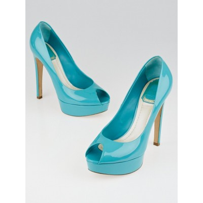 Christian Dior Turquoise Patent Leather Platform Peep Toe Miss Dior Pumps Size 6.5/37