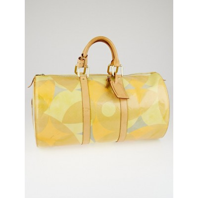 Louis Vuitton Yellow/Beige Monogram Vernis Fleurs Barrel Duffle Bag