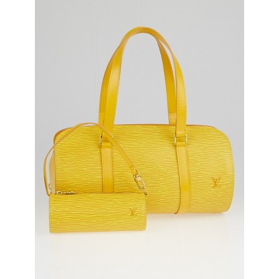 Louis Vuitton Tassil Yellow Epi Leather Soufflot Bag w/ Accessories Pochette