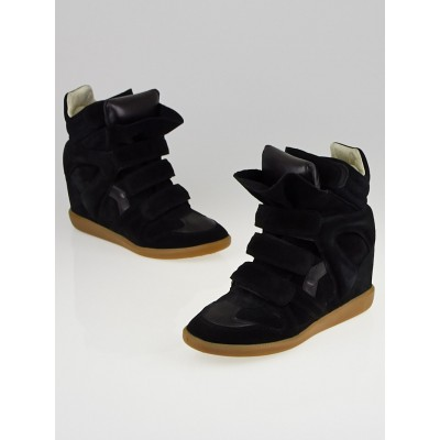 Isabel Marant Black Suede and Leather Bekett Sneaker Wedges Size 9.5/40