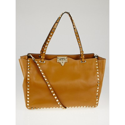 Valentino Brown Textured Leather Rockstud Trapeze Tote Bag