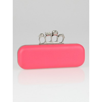 Alexander McQueen Pink Leather Knuckle Box Clutch Bag