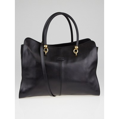 Tod's Black Leather Large Sella Tote Bag