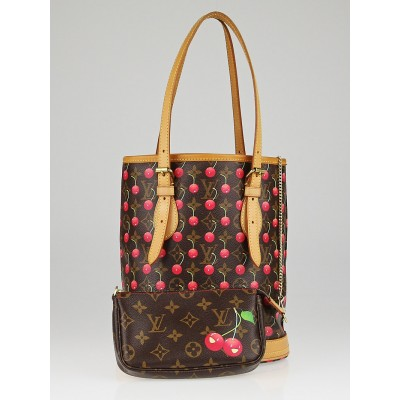 Louis Vuitton Limited Edition Monogram Cerises Bucket Bag w/ Accessories Pochette