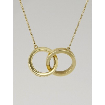 Tiffany & Co. 18k Gold 1837 Interlocking Circles Pendant Necklace