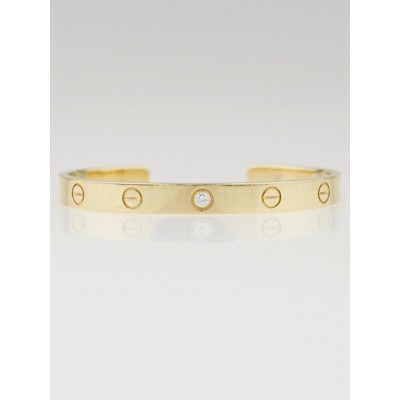 Cartier 18k Yellow Gold and Diamond Open Love Bracelet Size 17