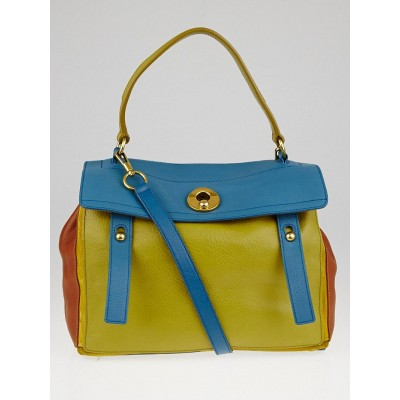 Yves Saint Laurent Green/Blue/Cognac Tricolor Leather Muse Two Bag