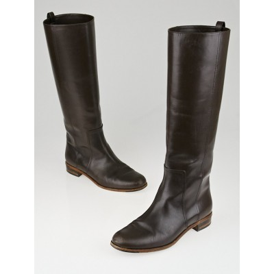 Fendi Brown Leather Goldmine Knee-High Flat Boots Size 8.5/39