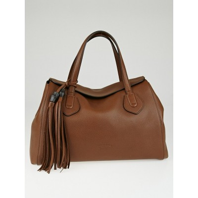Gucci Nut Brown Pebbled Leather Lady Tassel Tote Bag