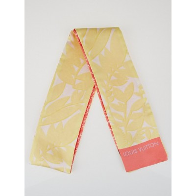 Louis Vuitton Pale Yellow Tropical Flowers Silk Reversible Bandeau Scarf