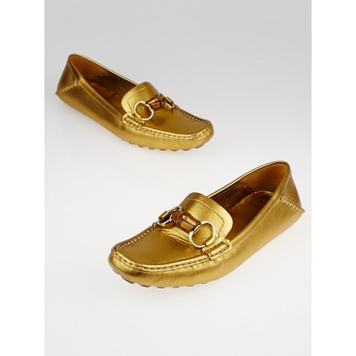 Gucci Gold Leather Horsebit Bamboo Driving Loafers Size 10