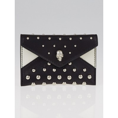 Alexander McQueen Black Leather Skull Stud Envelope Card Holder