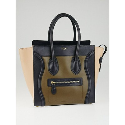 Celine Blue/Beige Tricolor Leather Micro Luggage Tote Bag