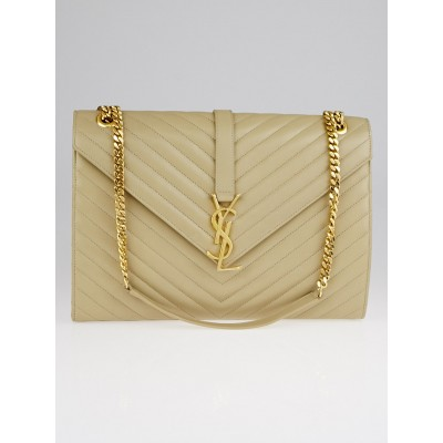 Yves Saint Laurent Beige Matelasse Quilted Nappa Leather Large Monogram Flap Bag