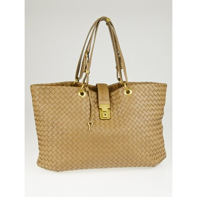 Bottega Veneta Camel Intrecciato Woven Nappa Leather Large Capri Tote Bag