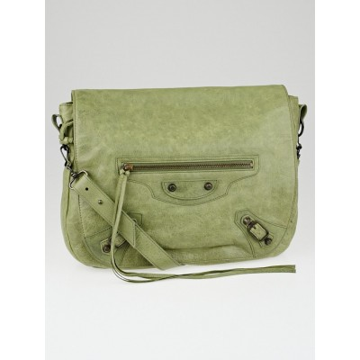 Balenciaga Light Olive Lambskin Leather Folk Messenger Bag