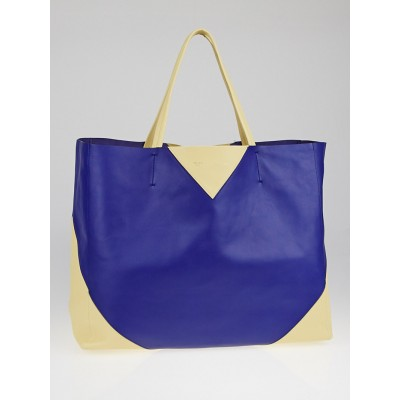 Celine Indigo/Yellow Bicolor Lambskin Leather Horizontal Cabas Tote Bag