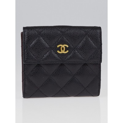 Chanel Black Quilted Caviar Leather Compact Wallet