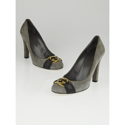 Gucci Grey Suede Interlocking GG Pumps Size 9/39.5