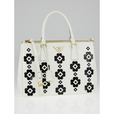 Prada White Brushed Calfskin Leather Flowers Double Zip Tote Bag