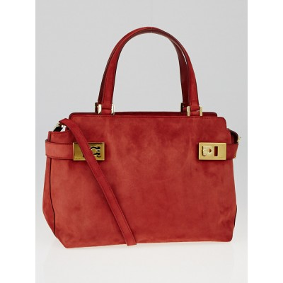 Salvatore Ferragamo Red Suede Creations Small Tote Bag