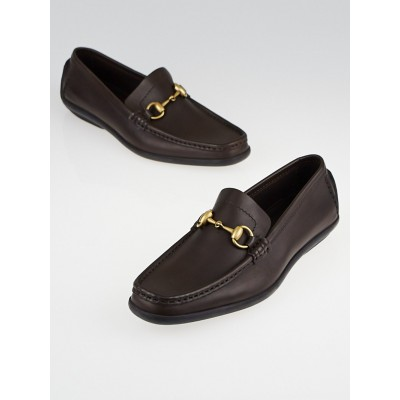 Gucci Brown Leather Horsebit Driving Loafers Size 7