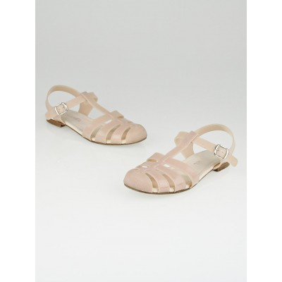 Chanel Pink Glitter Jelly Flat Sandals Size 8.5/39
