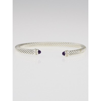 David Yurman 5mm Sterling Silver and Amethyst with Diamonds Cable Classics Bracelet