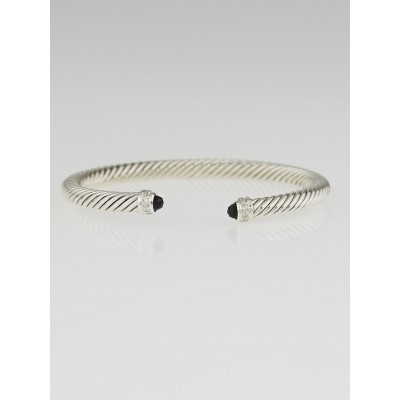 David Yurman 5mm Sterling Silver and Black Onyx with Diamonds Cable Classics Bracelet